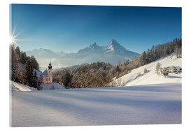 Acrylic print  Pilgrimage church of Maria Gern with Watzmann in the background - Dieter Meyrl