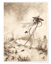 Premium poster  Martian Fighting Machine Hit by Shell - Henrique Alvim Correa