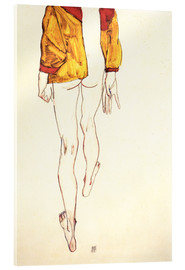 Acrylic print  Standing half naked with a brown shirt - Egon Schiele