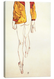 Canvas print  Standing half naked with a brown shirt - Egon Schiele