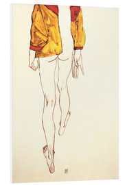 Foam board print  Standing half naked with a brown shirt - Egon Schiele