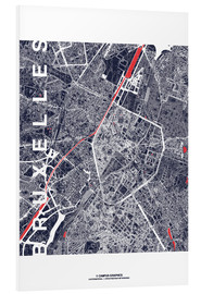 Foam board print  Brussels map city midnight - campus graphics