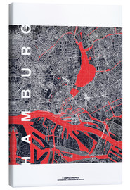Canvas  Hamburg city map midnight - campus graphics
