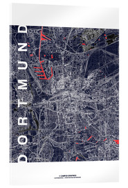 Acrylic glass  City of Dortmund Map midnight - campus graphics