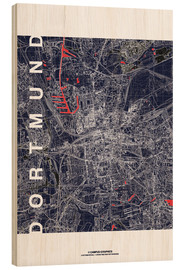 Wood print  City of Dortmund Map midnight - campus graphics