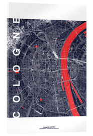 Acrylic print  City of Cologne Map midnight - campus graphics
