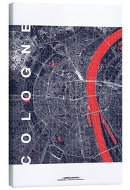 Canvas  City of Cologne Map midnight - campus graphics