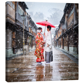 Canvas  Japanese wedding parade in winter in Kanagawa, Japan - Jan Christopher Becke