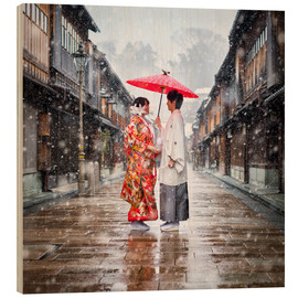 Wood print  Japanese wedding parade in winter in Kanagawa, Japan - Jan Christopher Becke