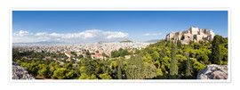 Premium poster Athens panorama with skyline and acropolis