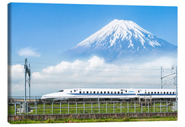 Canvas  Japanese bullet train passes Mount Fuji - Jan Christopher Becke