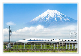 Premium poster  Japanese bullet train passes Mount Fuji - Jan Christopher Becke