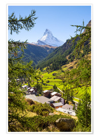 Premium poster  View of Zermatt and the Matterhorn, Swiss Alps, Switzerland - Jan Christopher Becke