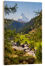 Wood print  View of Zermatt and the Matterhorn, Swiss Alps, Switzerland - Jan Christopher Becke