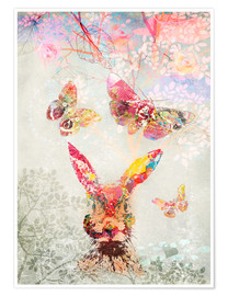 Premium poster Butterflies and Hare