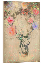 Wood  Deer in roses - Ella Tjader