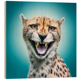 Wood print  Funny Wild Faces Cheetah - Manuela Kulpa