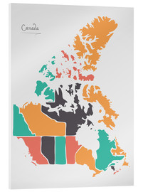 Acrylic print  Canada map modern abstract with round shapes - Ingo Menhard