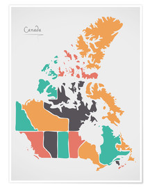 Premium poster  Canada map modern abstract with round shapes - Ingo Menhard