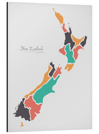 Aluminium print  New Zealand map modern abstract with round shapes - Ingo Menhard