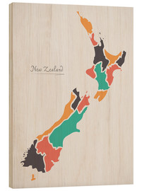 Wood print  New Zealand map modern abstract with round shapes - Ingo Menhard