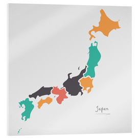 Acrylic print  Japan map modern abstract with round shapes - Ingo Menhard