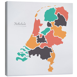 Canvas print  Netherlands map modern abstract with round shapes - Ingo Menhard