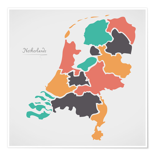 Premium poster Netherlands map modern abstract with round shapes