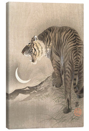 Canvas print  Roaring Tiger, Crescent Moon - Ohara Koson