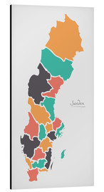 Aluminium print  Sweden map modern abstract with round shapes - Ingo Menhard