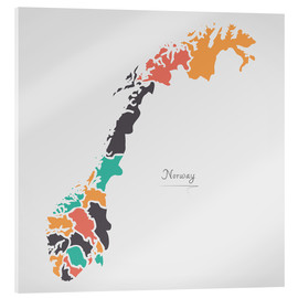 Acrylic print  Norway map modern abstract with round shapes - Ingo Menhard