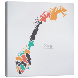 Canvas  Norway map modern abstract with round shapes - Ingo Menhard