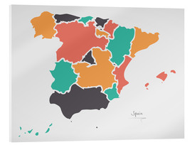 Acrylic print  Spain map modern abstract with round shapes - Ingo Menhard