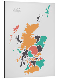 Aluminium print  Scotland map modern abstract with round shapes - Ingo Menhard