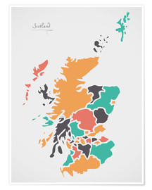 Premium poster  Scotland map modern abstract with round shapes - Ingo Menhard