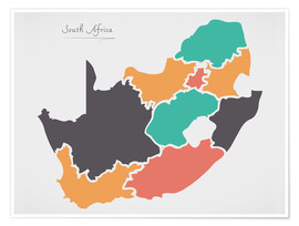 Premium poster  South Africa map modern abstract with round shapes - Ingo Menhard