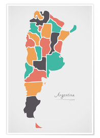 Premium poster Argentina map modern abstract with round shapes