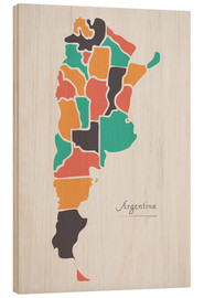 Wood print  Argentina map modern abstract with round shapes - Ingo Menhard