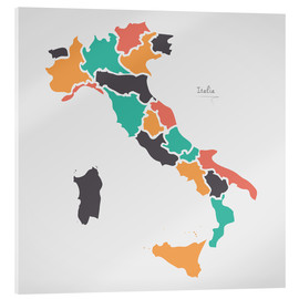Acrylic print  Italy map modern abstract with round shapes - Ingo Menhard