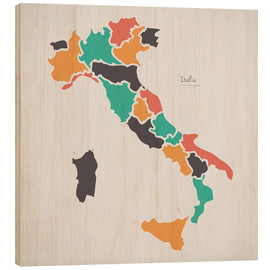 Wood print  Italy map modern abstract with round shapes - Ingo Menhard