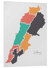 Foam board print  Lebanon map modern abstract with round shapes - Ingo Menhard