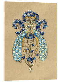 Acrylic print  Design for a belt buckle with peacock motif - Eugene Grasset