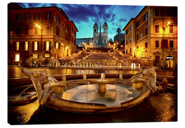 Canvas print  Spanish Steps and Fontana della Barcaccia in Rome