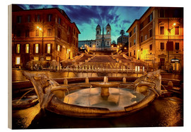 Wood print  Spanish Steps and Fontana della Barcaccia in Rome