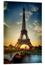 Acrylic print  Eiffel Tower and Pont d'Iena on Seine in Paris