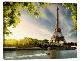 Canvas print  Eiffel tower on the river Seine, France