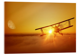 Acrylic print  Biplane flies towards the sun