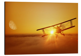 Aluminium print  Biplane flies towards the sun