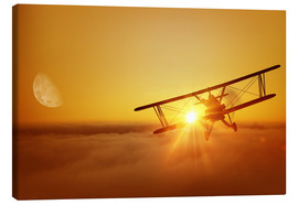 Canvas print  Biplane flies towards the sun