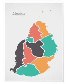 Premium poster Mauritius map modern abstract with round shapes